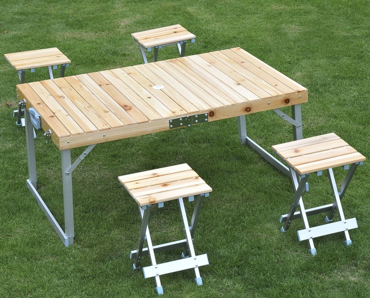 table de camping Bois Aluminium